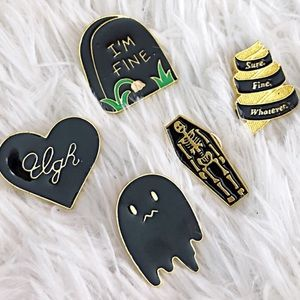Jewelry - 2 for $20 Sassy Ghost Pin Set Ugh Heart Skeleton